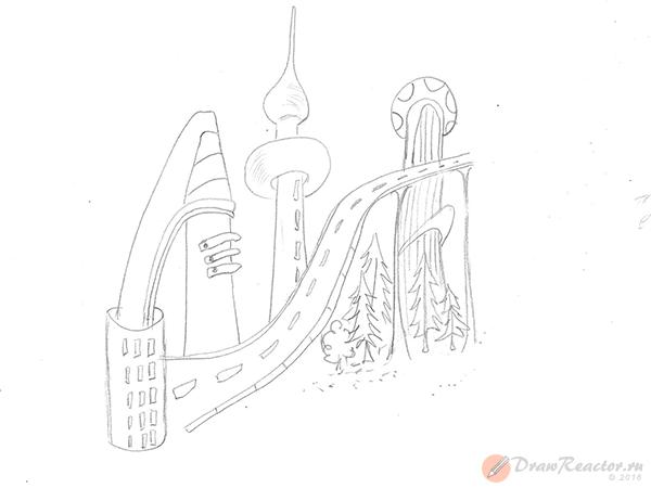 детей рисунок карандашом город для