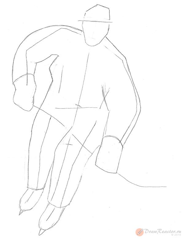 Рисуем хоккеиста. Шаг 3.