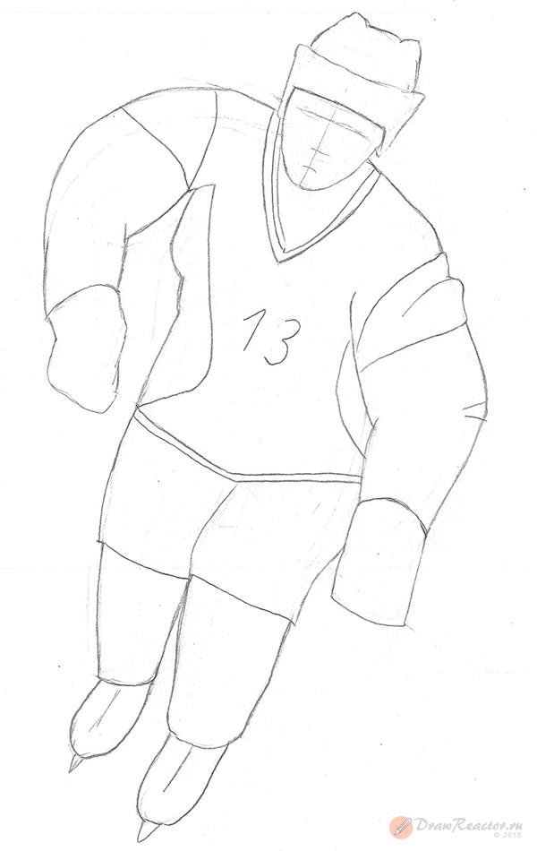 Рисуем хоккеиста. Шаг 4.