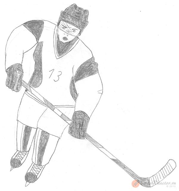 Рисуем хоккеиста. Шаг 5.