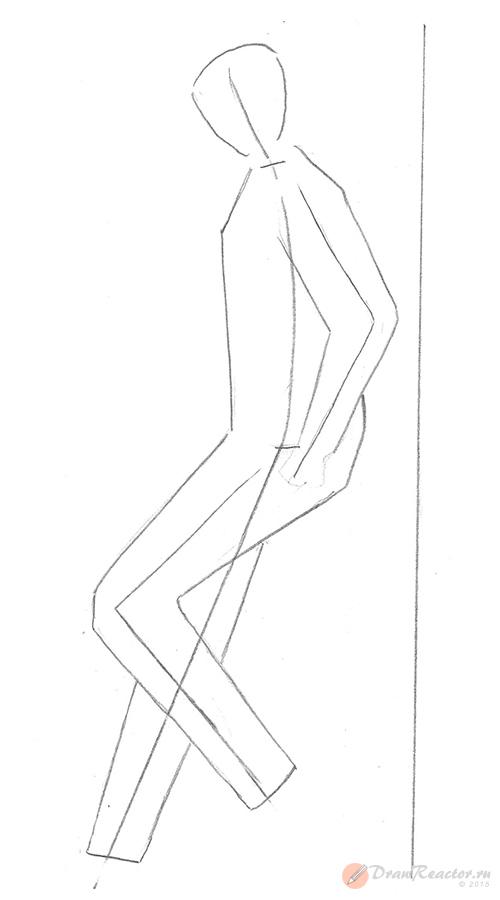 Рисуем человека боком. Шаг 2.