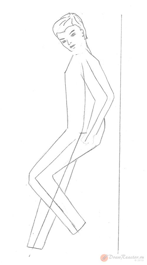 Рисуем человека боком. Шаг 3.