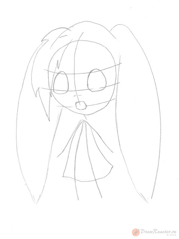 Как рисовать аниме детей. Шаг 3.