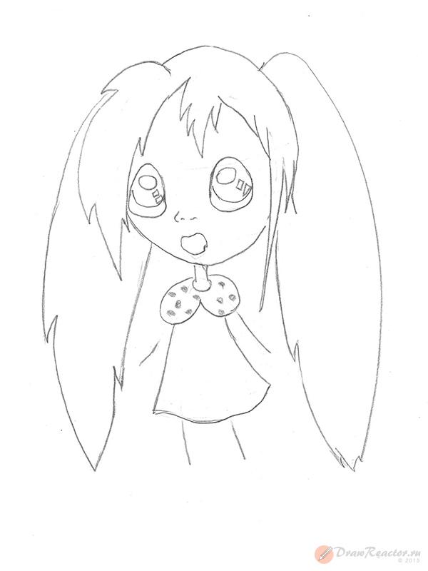 Как рисовать аниме детей. Шаг 4.