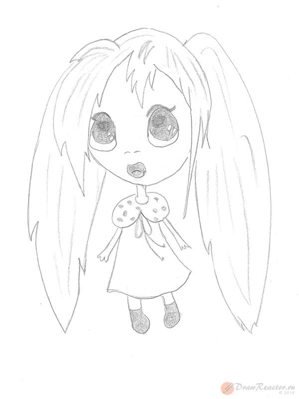 Как рисовать аниме детей. Шаг 5.