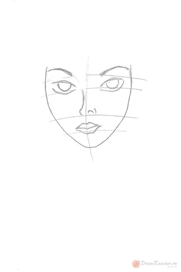 Как нарисовать девочку с длинными волосами. Шаг 2.