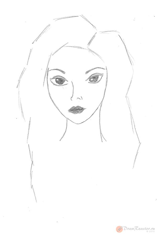 Как нарисовать девочку с длинными волосами. Шаг 3.