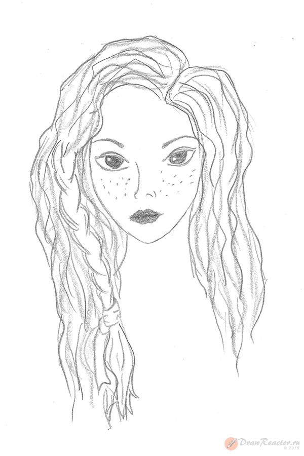 Как нарисовать девочку с длинными волосами. Шаг 4.