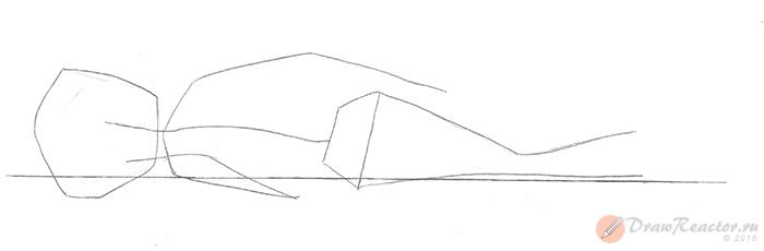 Как нарисовать лежащего человека. Шаг 1.
