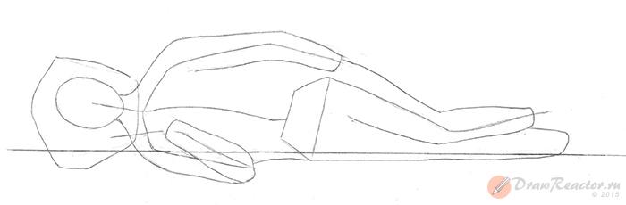 Как нарисовать лежащего человека. Шаг 2.