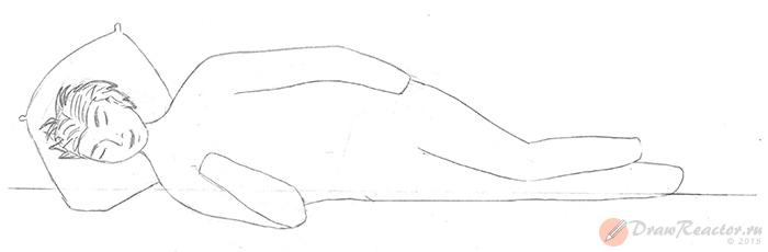 Как нарисовать лежащего человека. Шаг 3.