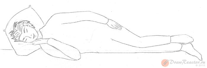 Как нарисовать лежащего человека. Шаг 4.