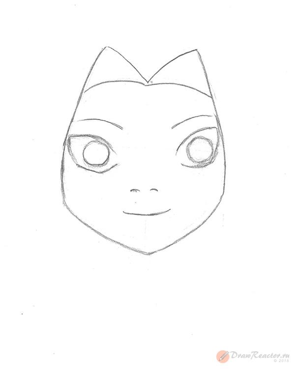 Как нарисовать Сакуру из Наруто. Шаг 3.