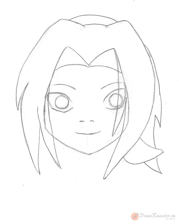 Как нарисовать Сакуру из Наруто. Шаг 4.