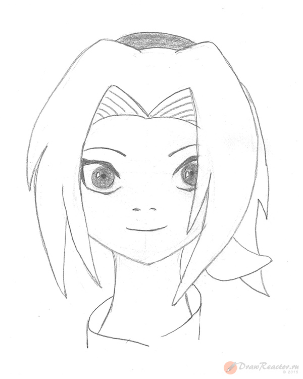 Как нарисовать Сакуру из Наруто. Шаг 5.
