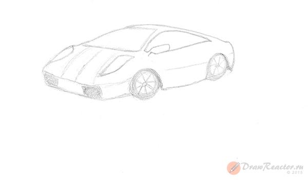 Как нарисовать машину. Шаг 4.