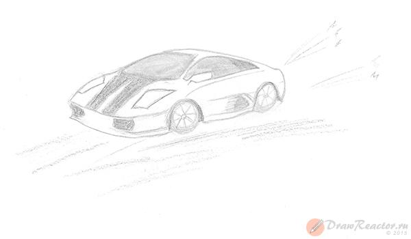 Как нарисовать машину. Шаг 5.