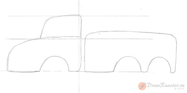 Как нарисовать пожарную машину. Шаг 2.