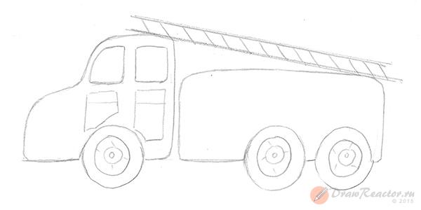Как нарисовать пожарную машину. Шаг 3.