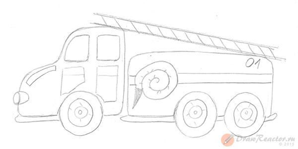 Как нарисовать пожарную машину. Шаг 4.