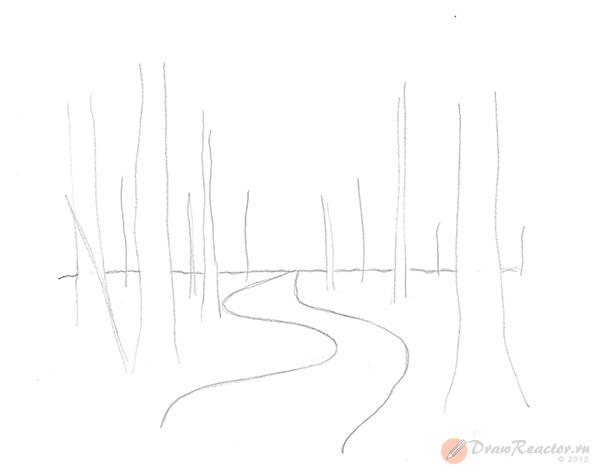 Как нарисовать лес. Шаг 2.