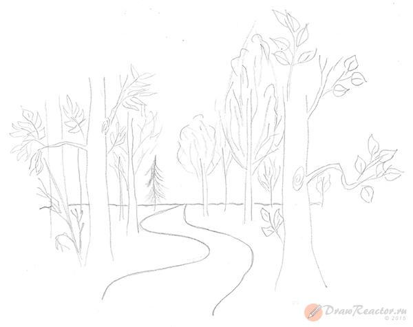 Как нарисовать лес. Шаг 3.