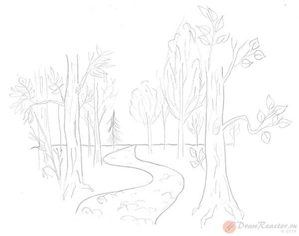 Как нарисовать лес. Шаг 4.