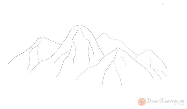 Рисуем горы. Шаг 3.