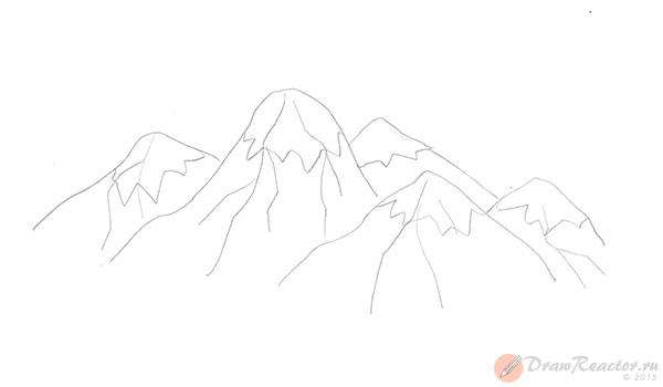 Рисуем горы. Шаг 4.