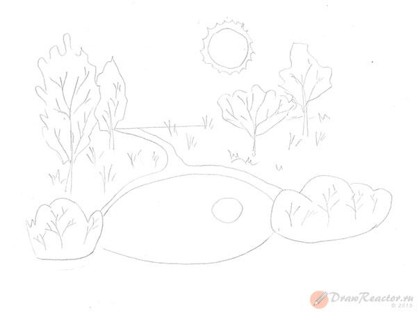 Как нарисовать природу. Шаг 3.