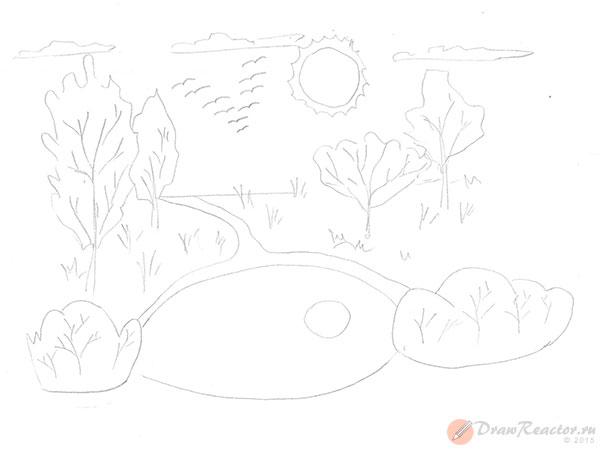 Как нарисовать природу. Шаг 4.