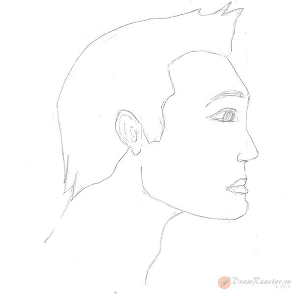 Рисуем лицо в профиль. Шаг 4.