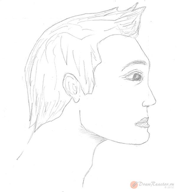 Рисуем лицо в профиль. Шаг 5.