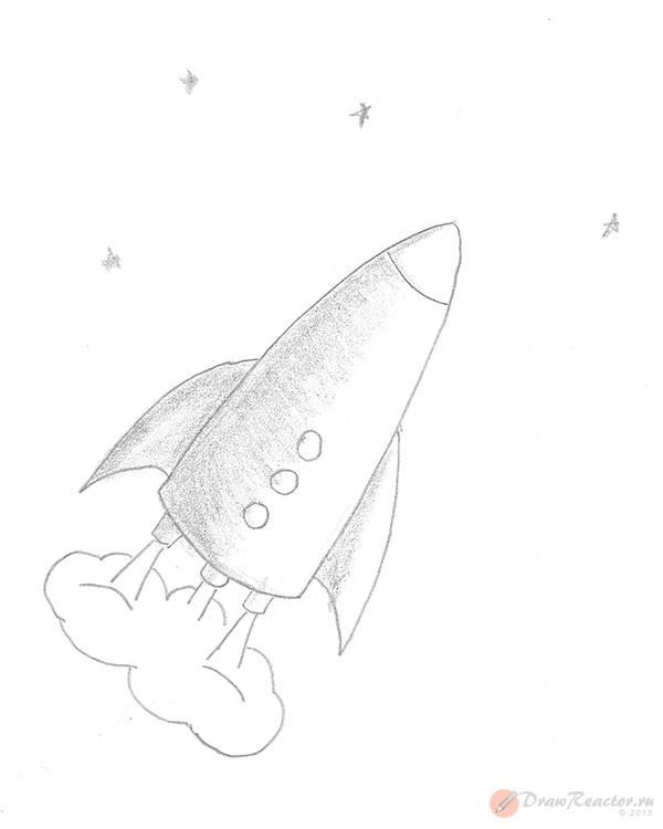 Рисунок ракеты. Шаг 5.
