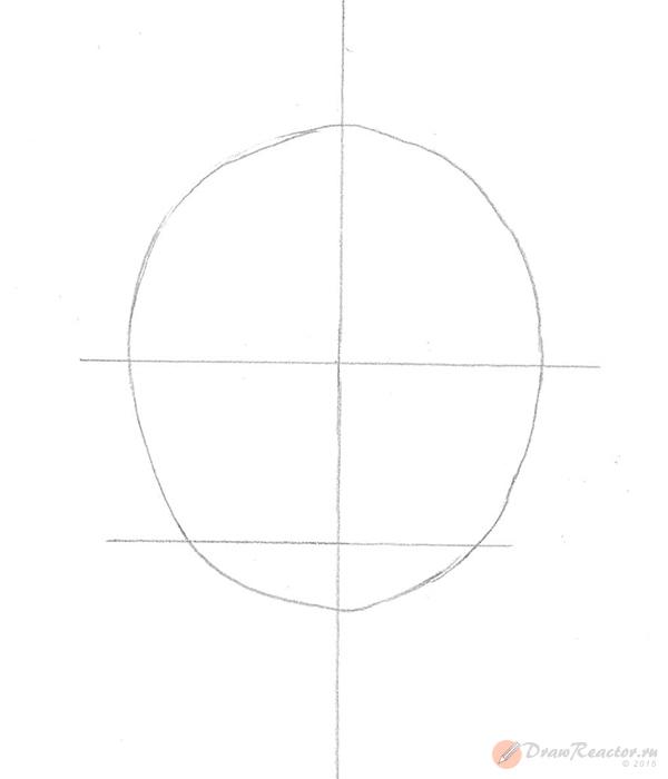 Как нарисовать Саске. Шаг 1.