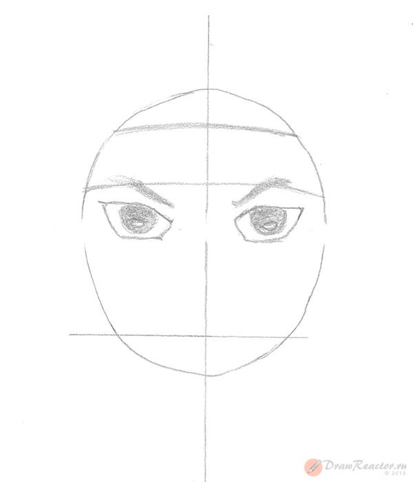 Как нарисовать Саске. Шаг 2.
