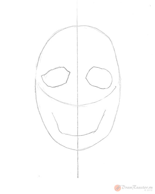 Как рисовать череп. Шаг 2.