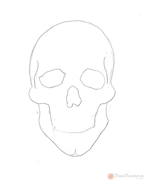Как рисовать череп. Шаг 3.