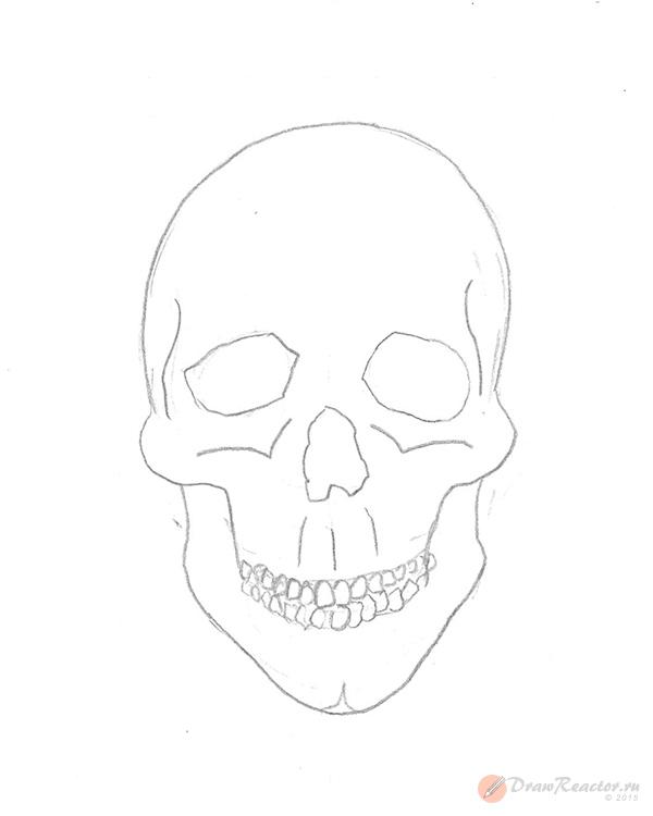 Как рисовать череп. Шаг 4.
