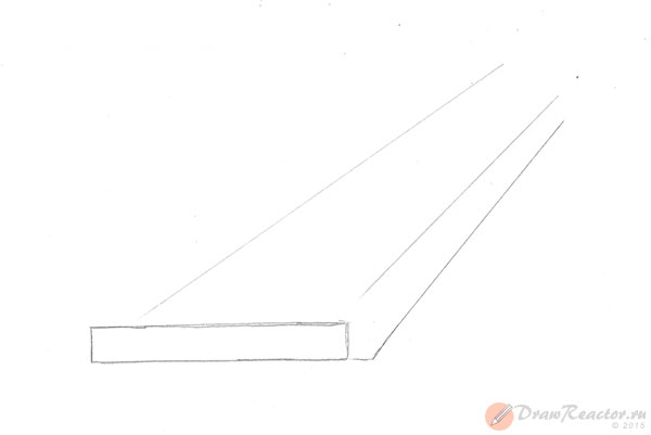Как нарисовать лестницу. Шаг 2.