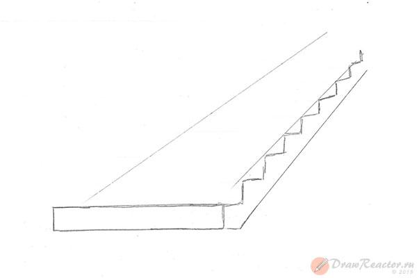 Как нарисовать лестницу. Шаг 3.