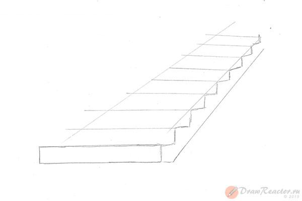 Как нарисовать лестницу. Шаг 4.
