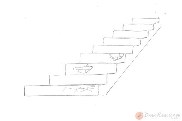 Как нарисовать лестницу. Шаг 5.