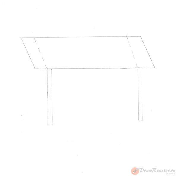 Как нарисовать стол. Шаг 2.