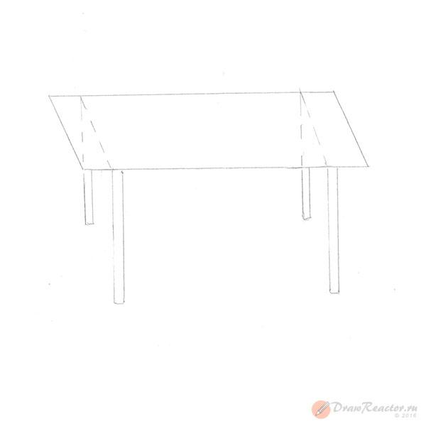 Как нарисовать стол. Шаг 3.