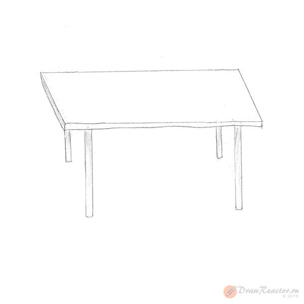 Как нарисовать стол. Шаг 4.