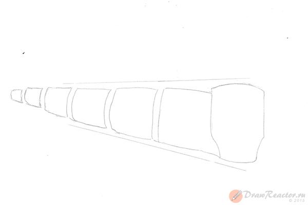 Как нарисовать поезд. Шаг 2.