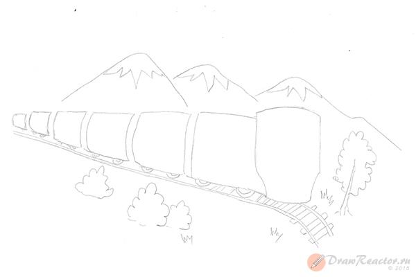 Как нарисовать поезд. Шаг 3.