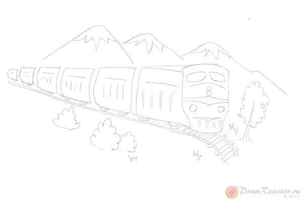 Как нарисовать поезд. Шаг 4.