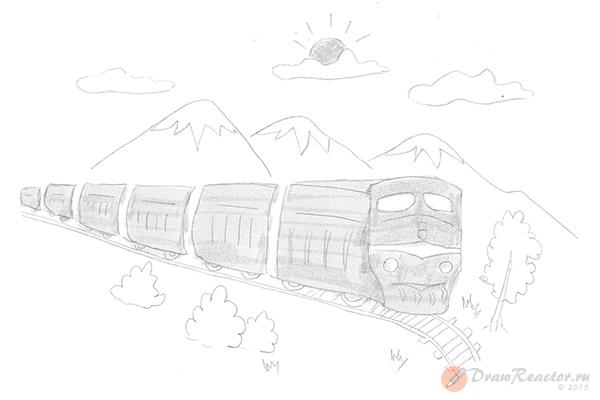 Как нарисовать поезд. Шаг 5.